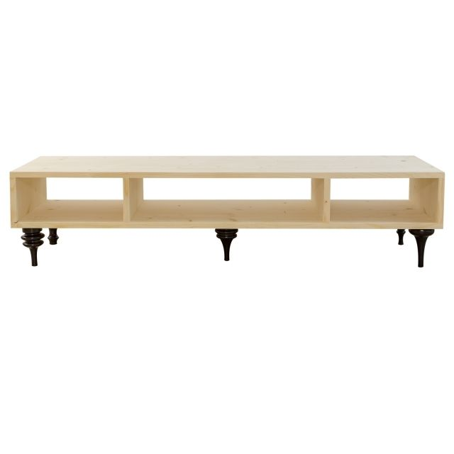 Hello, my name is Little Henry and I'm a table. You can use me as a coffee table or a TV table. You can hide DVD records or other TV equipment. Materials: natural spruce wood painted with transparent paint.
