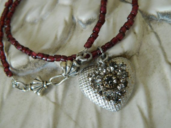 Vintage Assemblage Hearts in Rhinestones and Sterling by 58Diamond