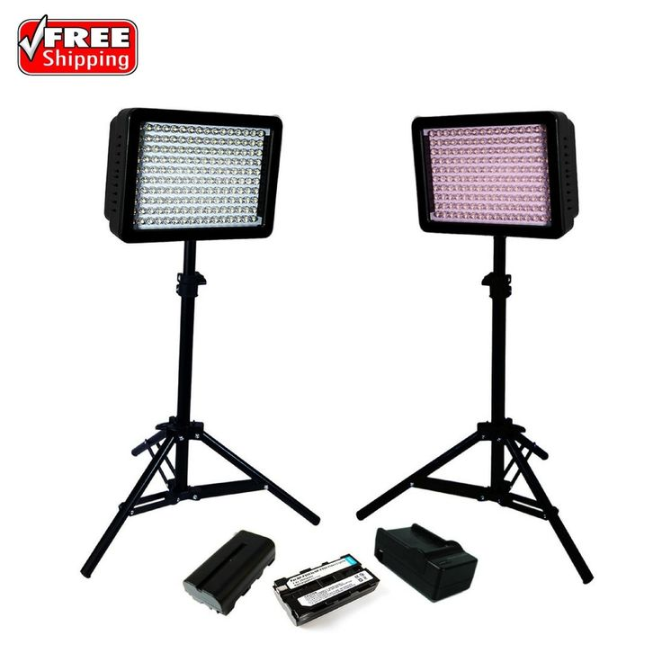 This LimoStudio 160 LED Lighting Kit For Digital Photography With Batteries Chargers includes (2) x 160 LED Video Light Studio Lighting; (2) x High Output Table Top Photography LED Light Stand; (2) x Battery for Video Light (NP-F550 to NP-F950); (2) x Battery Charger for SONY Camcorder Camera/Video Light; (4) x Color Filters (White/Orange/Blue/Pink). | eBay!