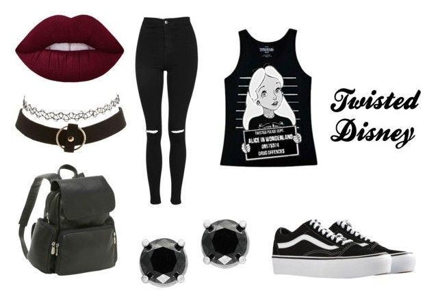 """Twisted Disney"" by styles-co11 on Polyvore featuring Disney, Topshop, Vans, Charlotte Russe, Le Donne and Effy Jewelry"
