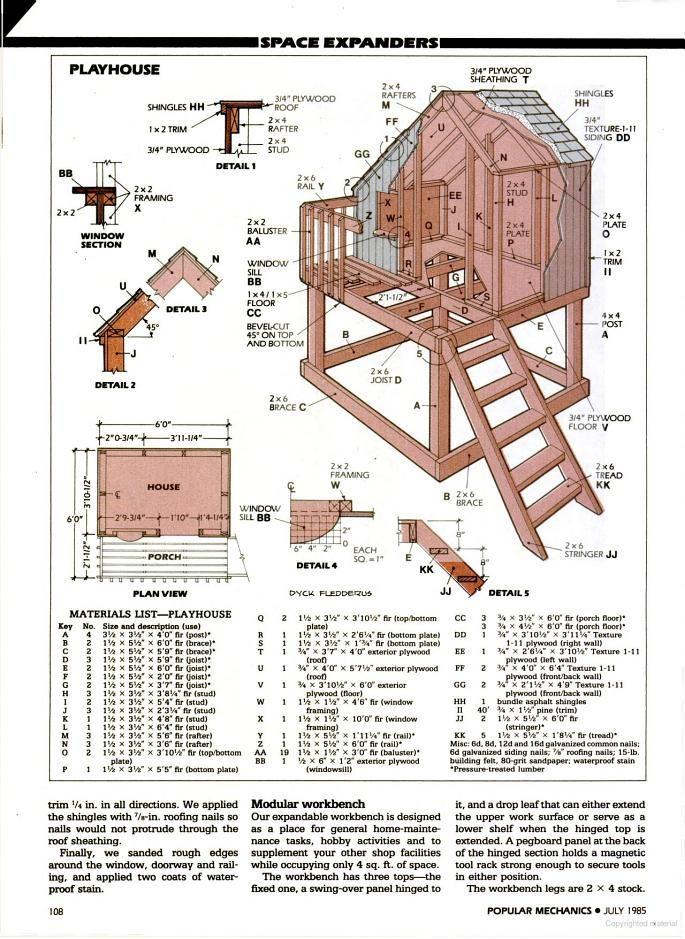 Popular Mechanics - playhouse idea and add slide