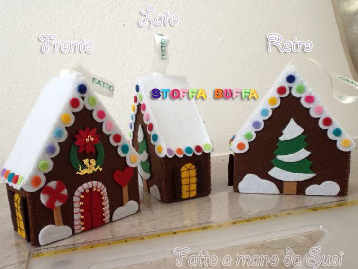 Casetta innevvata in feltro fai da te cucito creativo fatto a mano da Susi per Stoffa Buffa Idea regalo per Natale Felt Crafts Gingerbread house handmade christmas gift