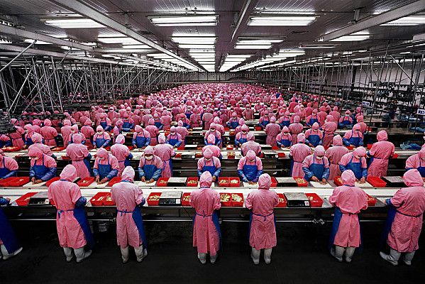 Andreas Gursky. This image captures the amount of people that work in factories even though you dont see them. There is vivid pink throughout this picture