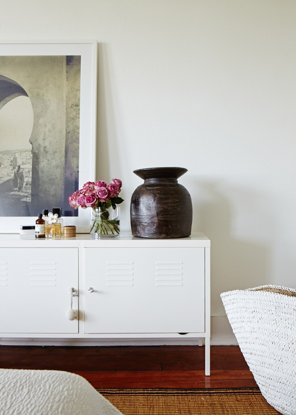 white IKEA ps cabinet in bedroom