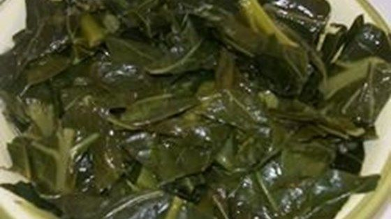 A classic recipe for collard greens that uses smoked turkey to add some flavor. Greens are simmered in chicken stock, then spiced with a dash of red chile flakes.