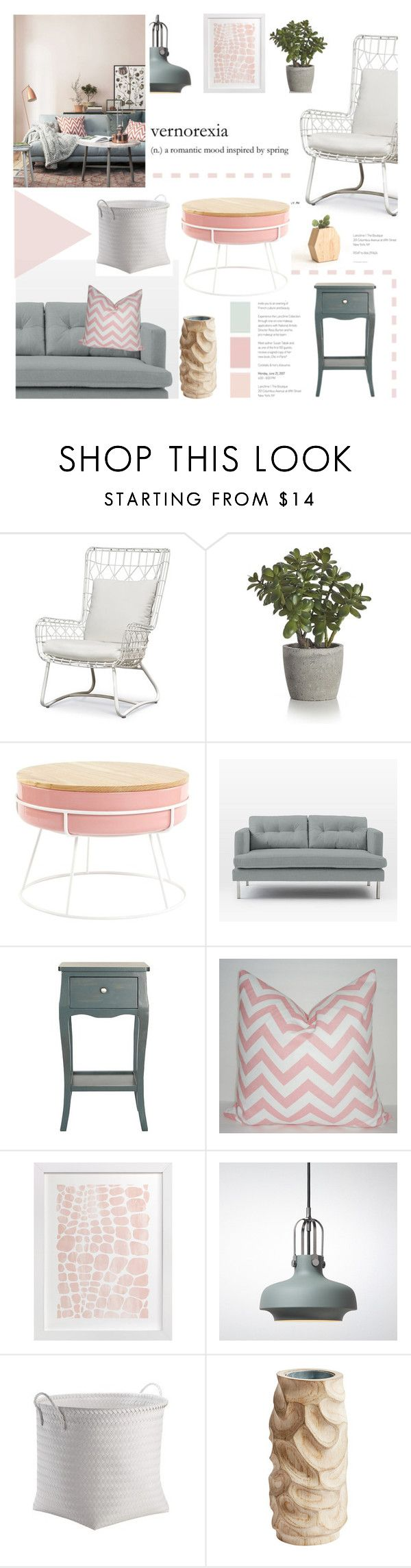 """""""Pretty Pastels"""" by fyenksfiona ❤ liked on Polyvore featuring interior, interiors, interior design, home, home decor, interior decorating, Palecek, Casafina, Crate and Barrel and West Elm"""