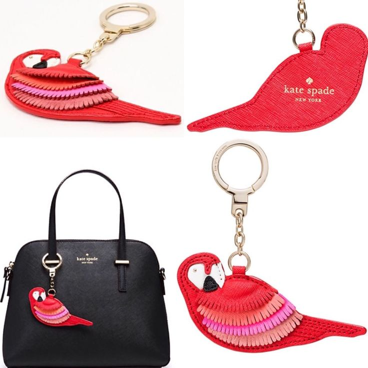Genuine Kate Spade Leather Parrot Key Chain Colorful Bag Charm New with Tags | eBay