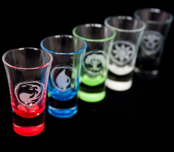 Coloured   Magic: The Gathering themed Shot glass. by EventCapture