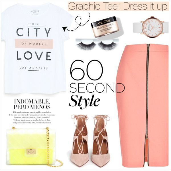 60 Second Style: Dress it up by gooroo on Polyvore featuring MANGO, River Island, Aquazzura, Design Inverso, Marc by Marc Jacobs, Lancôme, contestentry, polyvorecontest and 60secondstyle