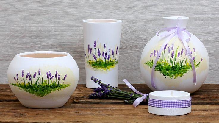Ręcznie wykonany i malowany komplet ceramiczny z motywem lawendy.