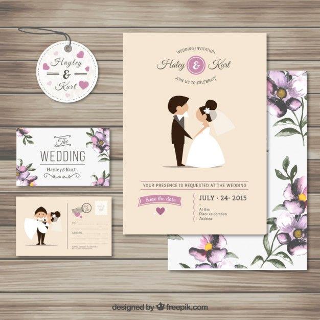 Nette Hochzeitseinladungssammlung Kostenlose Vektoren