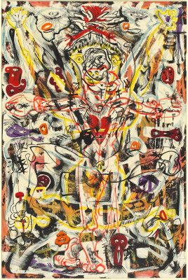 """Artwork: Born in Manila, Philippine Islands, artist Alfonso Ossorio moved to the United States in 1929 and spent most of his working life in New York City. He was a member of the first generation of abstract expressionist painters, sharing their rejection of descriptive images and stressing free, spontaneous expression.  [Alfonso Ossorio, """"Perpetual Sacrifice,"""" 1949, ink, wax, and watercolor on Whatman watercolor board, Gift of Paul and Hannah Tillich] #asianpacificamericanheritagemonth…"""