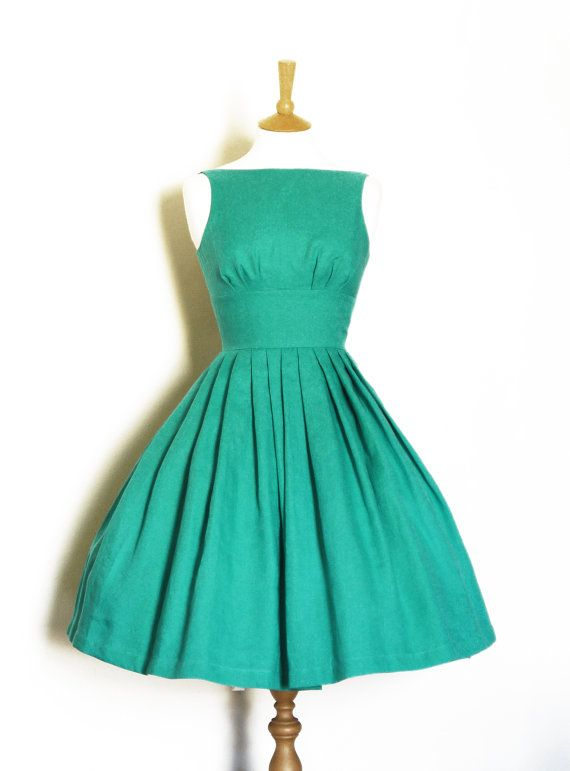 Jade Green Linen Tiffany Prom Dress  made by Dig by digforvictory
