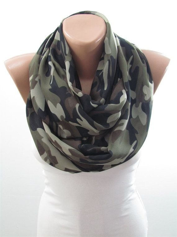 Camo Scarf Infinity Scarf Camouflage Scarf Circle by MiracleShine