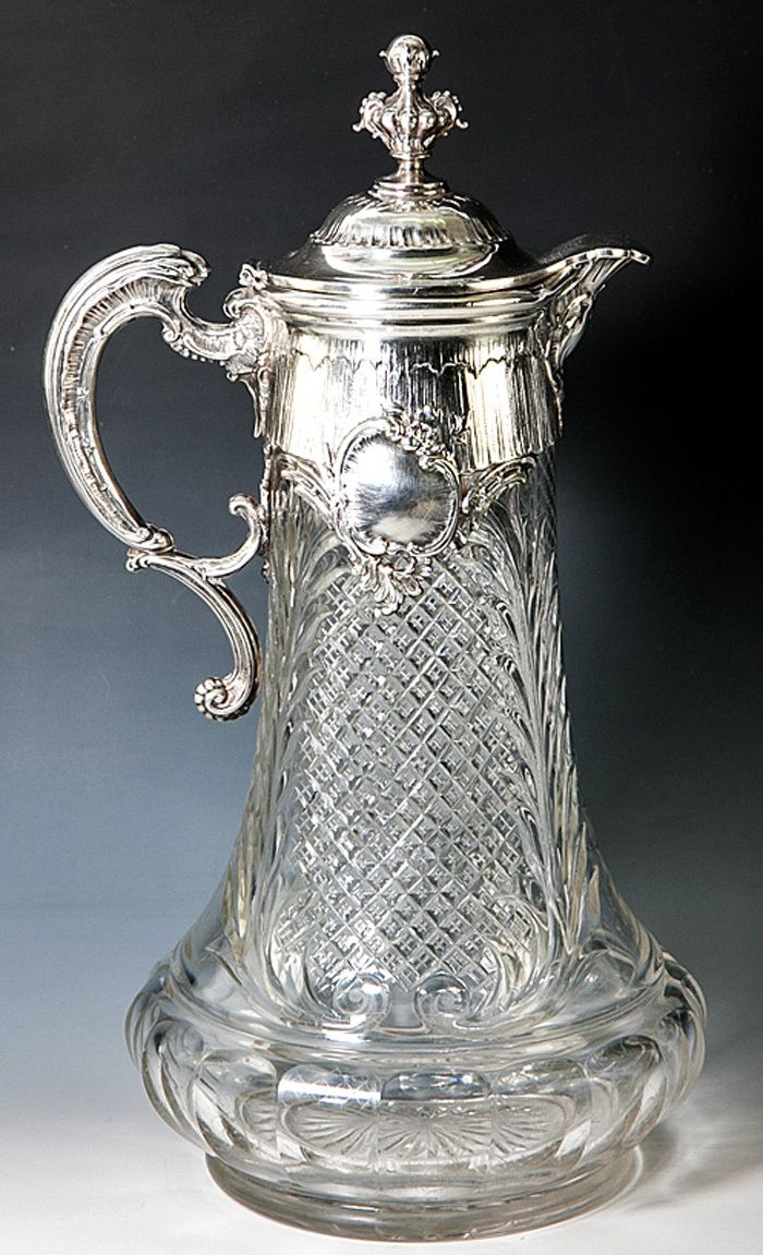 Antique Large Fine Cut And Etched Glass Claret Jug Or