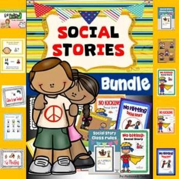Social story bundle includes 8 social stories plus 4 Social Story strips plus behaviour sorting sheets and remember poster.