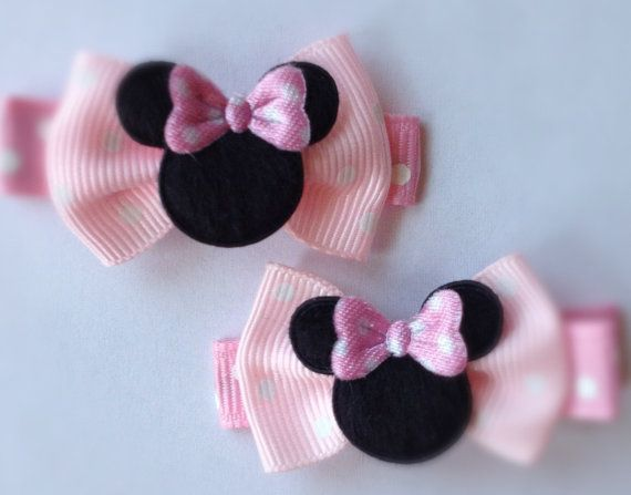 2 Boutique Girl Hair Clips Minnie Mouse Dots Pink Bowtique on Etsy, $3.49