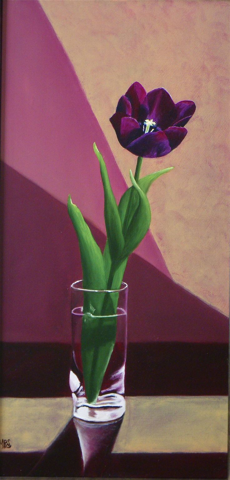 'Black Tulip' The exquisite Nigrita Tulip. A classic subject painted in the traditional method of the Old Masters. This painting is sure to become a family heirloom.