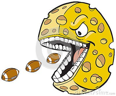 #Vector #cartoon #clipart #illustration of a #cheesehead #mascot with a face and mouth eating #footballs, which are on separate layer. #wisconsin #greenbay #packers #greenbaypackers