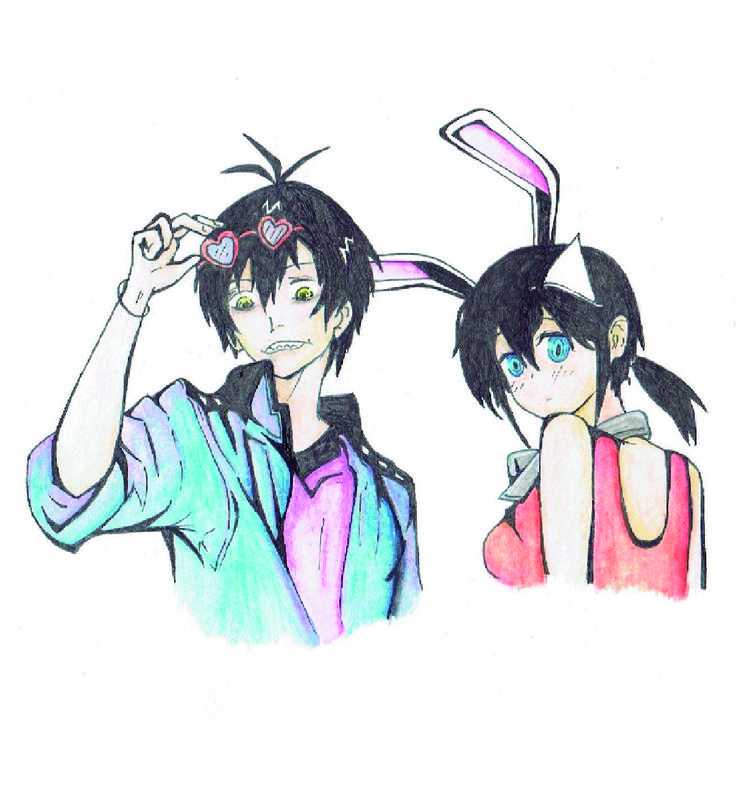 Staz Charlie Blood y Fuyumi Yanagi del anime Blood Lad  Pintado con colores de acuarela y las líneas de tinta china