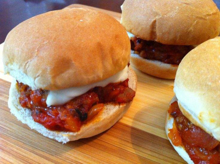 A twist on classic Sloppy Joes, these delicious (and not so sloppy) Italian-style mini-sandwiches are a fabulous game day snack. Everyone I've served them to has raved, even people who don't like traditional Sloppy Joes! Because the sauce is thick and chunky and the sandwiches are small, there is no need to worry about them creating a big mess. Enjoy!!