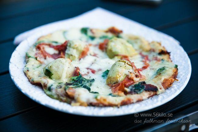 Pizza Blanco med spenat och kronärtskocka (Low Carb, Glutenfri) - 56kilo - en hållbar livsstil!