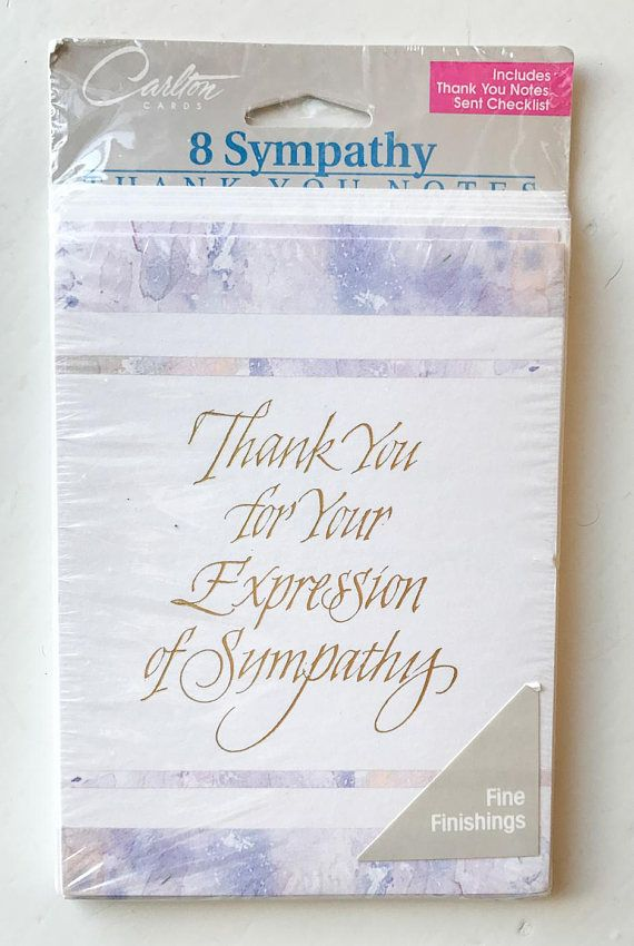 A set of 8 vintage sympathy cards from Carlton Cards. Front has a beautiful soft pastel design with gold foil lettering that reads Thank You for Your Expression of Sympathy. The inside reads Your kind expression of sympathy will always be remembered. Condition: Unopened package Approx measurements: 5.5 x 4 ***** Please note items are being shipped via ground shipping with Canada Post. Tracking and insurance is not included in this standard shipping rate. If you would like to receive a tra...
