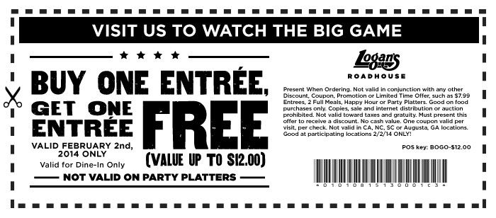 Pinned January 30th: Second entree free #Sunday at Logans Roadhouse #coupon via The Coupons App
