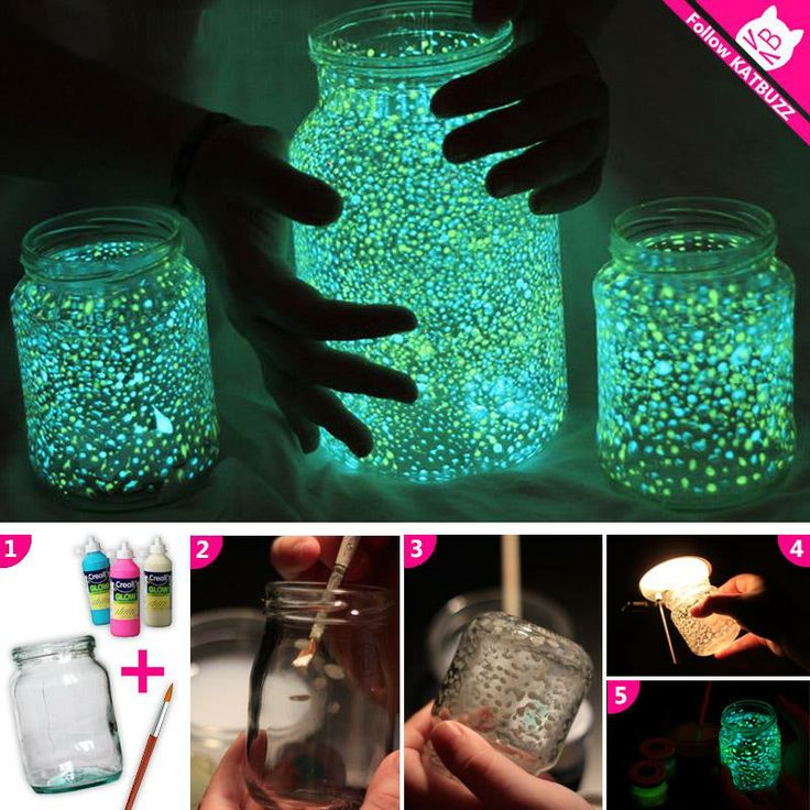 DO IT YOURSELF: Spice up your old jars with glow paint! Use them for garden parties or for movie nights. It takes only 2 minutes!!!