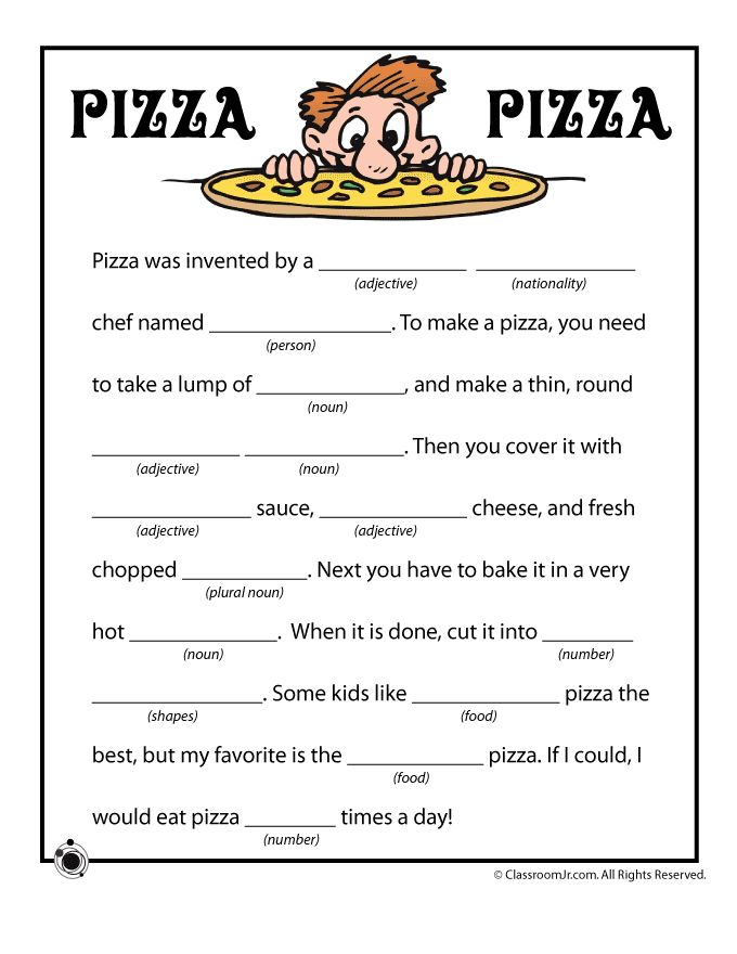 Summer Mad Libs Pizza Pizza Funny Mad Libs – Classroom Jr.