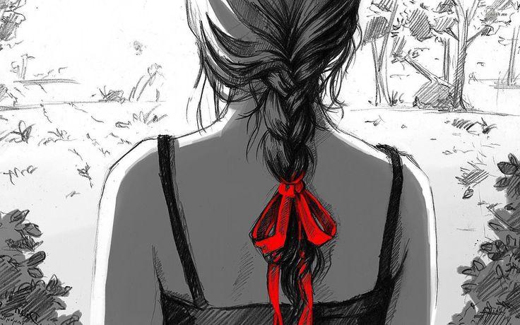 Grafika, Rysunek, Dziewczyna, Warkocz, Czerwona, Kokardka
