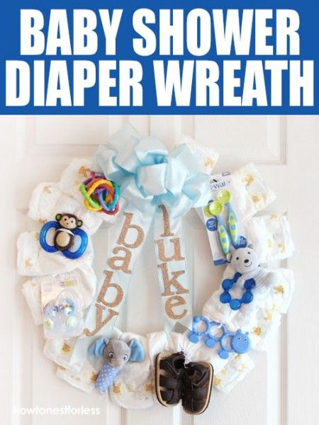 How to make a baby shower diaper wreath!  Great present for a baby shower and for the mommy-to-be to hang on the hospital room door!