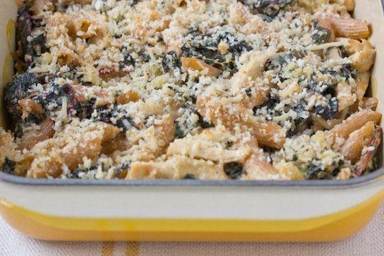Chicken & Swiss chard pasta bake (maybe skip the pasta and add squash?)