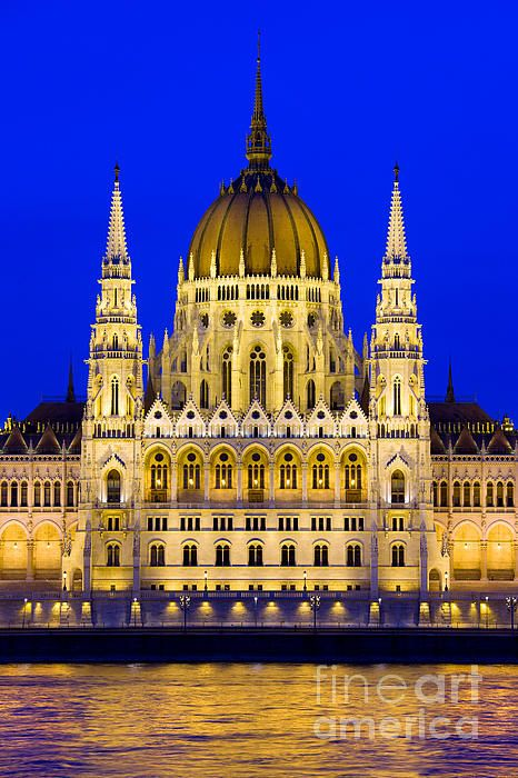 Hungarian Parliament Building in Budapest, Hungary at night.