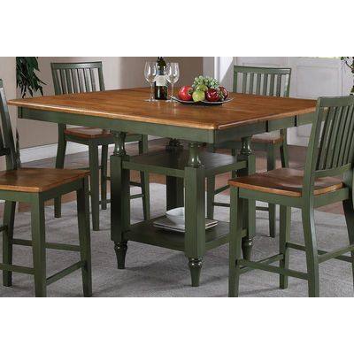 Buy Steve Silver Candice 54x42 Counter Height Table In Oak And Green W/ 12  Inch