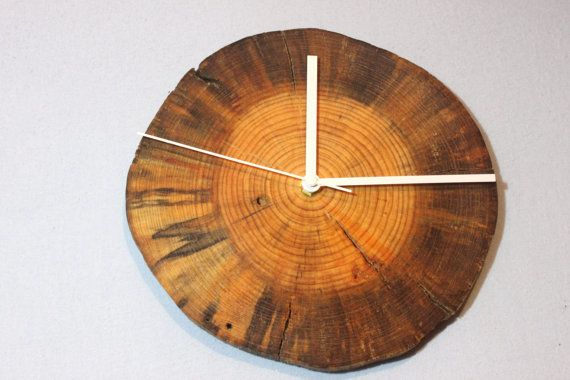 Dried pine Natural Wall Clock Home Unique wall clock - wooden wall decor - Modern home decor Wedding Birthday Gift Dried Tree Slices