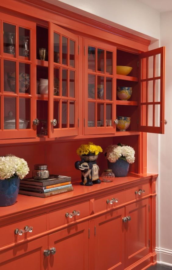 Built In Hutch Idea Eclectic Dining RoomsRed