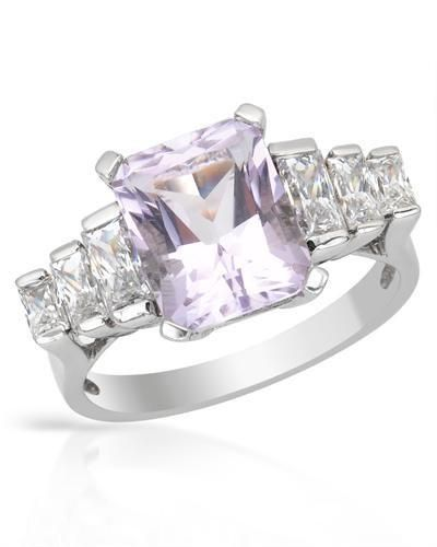 Ring With Amethyst And Zirconia-Size7 Size 7. Nice ring with amethyst and cubic zirconia beautifully crafted in 925 sterling silver. Total item weight 4.1g. Gemstone info: 1 amethyst, 3.11ctw., radiant shape and purple color, 6 cubic zirconia, 1.44ctw., rectangular shape and white color.