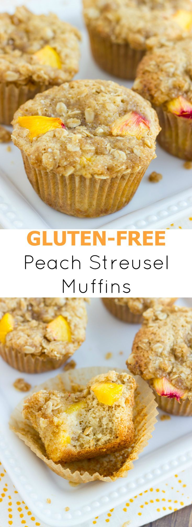 Gluten-Free Peach Streusel Muffins! Tender, and moist, these gluten-free muffins are filled with peaches and topped with a sweet oat streusel. // @MeaningfulEats