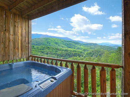 Hot Tub On Deck At Mountain Haven 5 Bedroom Cabin High Above Gatlinburg