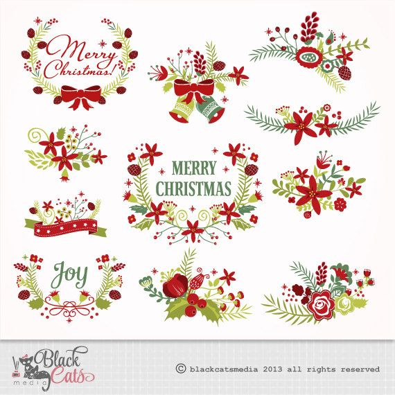 Christmas Clipart Flower frames Lace Digital Clipart  Frames for Christmas invitation Scrapbooking - Instant Download Eps and PNG