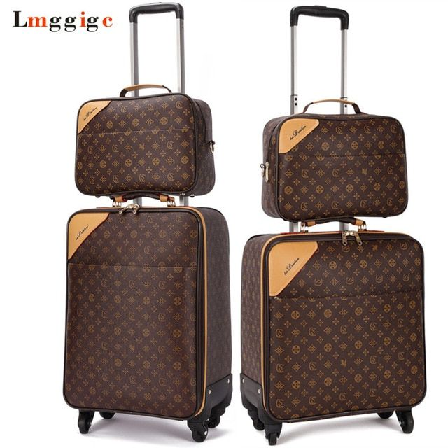 Classic Travel Suitcase Set Brand Rolling Luggage Bag Waterproof Pvc Business Trolley Case 16 20 22 24 Spinner W Mens Travel Bag Leather Rolling Luggage Bags