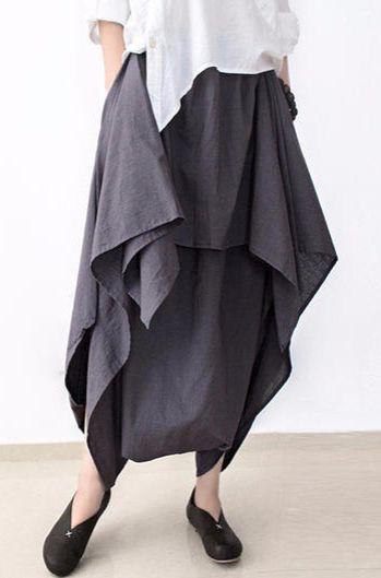 Gray stylish layered pants loose skirt pants cotton linen trousers