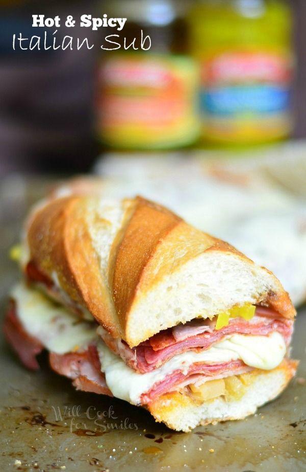 Hot & Spicy Baked Italian Sub | from willcookforsmiles.com (Submarine Sandwich Recipes)
