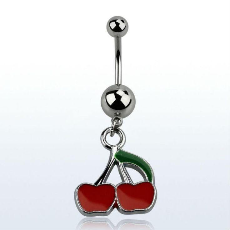 Banana para piercing de ombligo. Grosor: 1,6mm. Diseño de cerezas colgantes. Acero quirúrgico. Comprar piercings online LimonBay.com