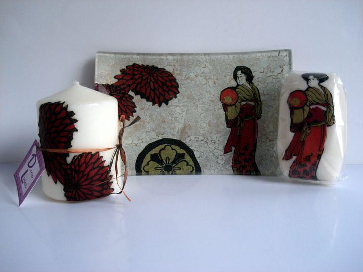Bandeja de 11x 16 cm.con vela y jabón a juego de 100 gr. decorados con decoupage.