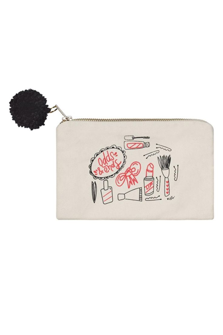 "Odds & Ends Cosmetic pouch with pom pom charm.  Measurements: 9"" W x 6"" T  Odd's & Ends Pouch by Collins Paintings. Bags - Cosmetic Pouches New Jersey"