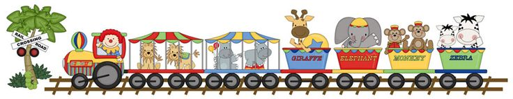"""Circus train Wall Mural Or Border measures 8.25"""" Tall and 42"""" wide #decampstudios"""