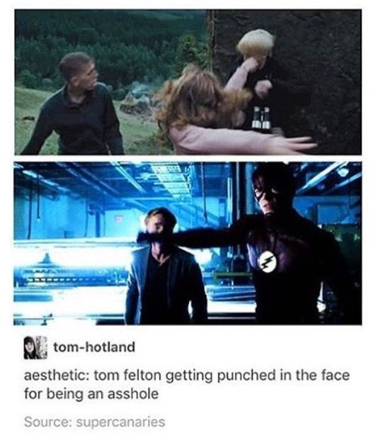 this should include that scene in Rise of the Planet of the Apes when Caesar fights him  Tom Feltons in a film, let's punch him in the