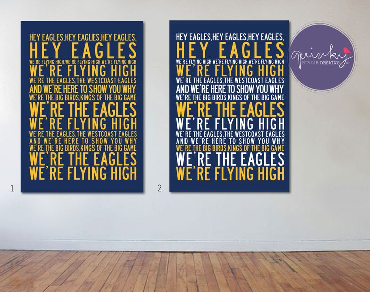 Westcoast Eagles Team Anthem - Printable digital design, custom size $25 (ready to print on canvas) - Framed A3 print (choice of black, brown or white wood frame, dimensions 40cms x 49cms) $40 (plus postage or free pick up from Geelong area)